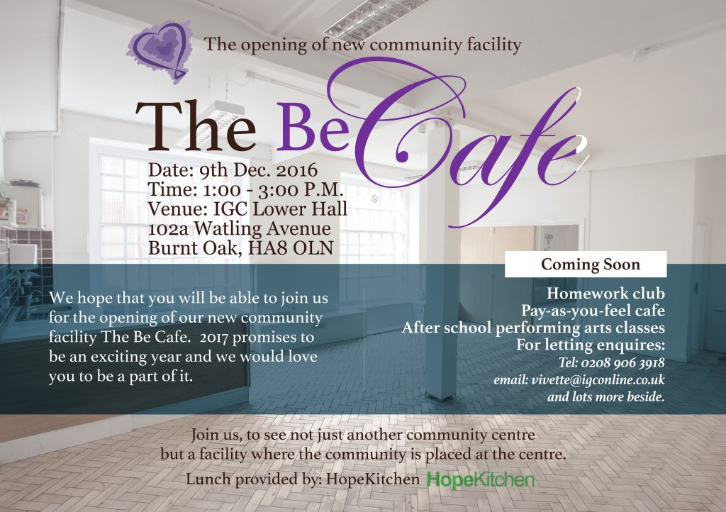 The Be Cafe - Opening 9th December 2016