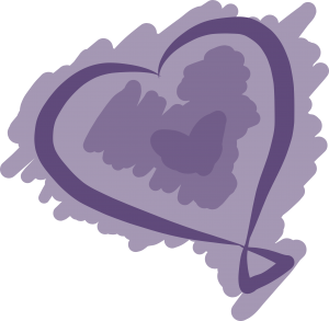 Sketched purple heart-shaped balloon