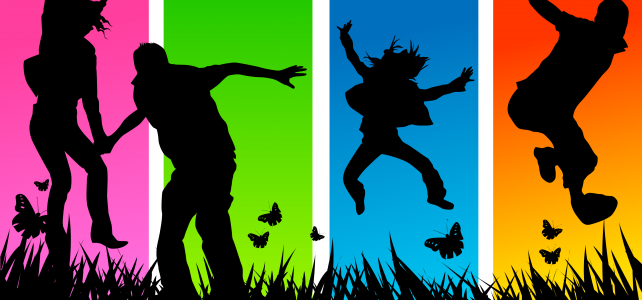 Four jumping happy people silhouettes on separate coloured backgrounds with butterflies and grass.